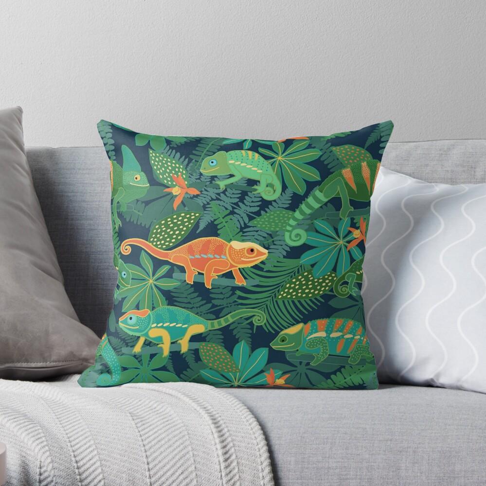 Chameleons in Jungle Throw Pillow