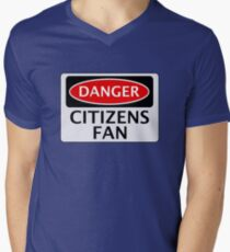DANGER MANCHESTER CITY, CITIZENS FAN, FOOTBALL FUNNY FAKE SAFETY SIGN T-Shirt