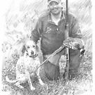 Bird dog with first bird drawing by Mike Theuer