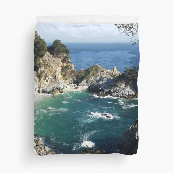 McWay-Julian Falls at Big Sur California - Beach Ocean Waterfall Duvet Cover