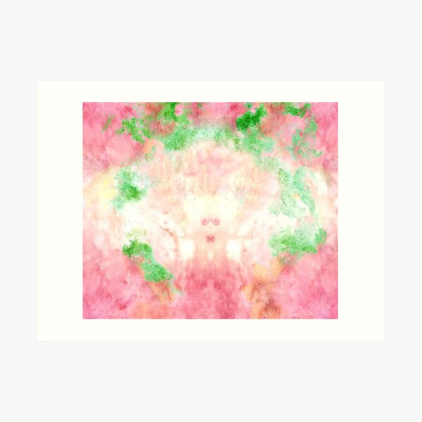 Pink and Green Multicolored Watercolor Pattern  Art Print