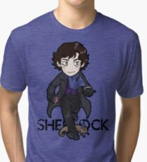 Sherlock Holmes, consulting detective and Otter with scarf. Tri-blend T-Shirt