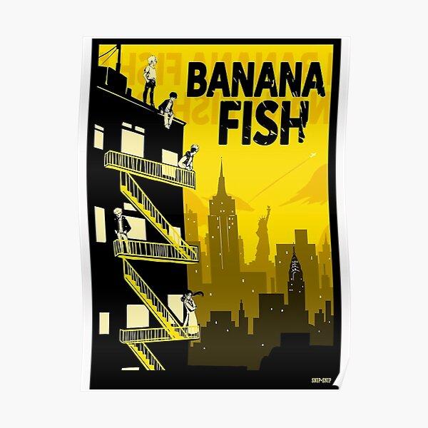 Anime Poisson Banane Jaune Poster