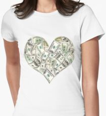 Dollars Heart Womens Fitted T-Shirt