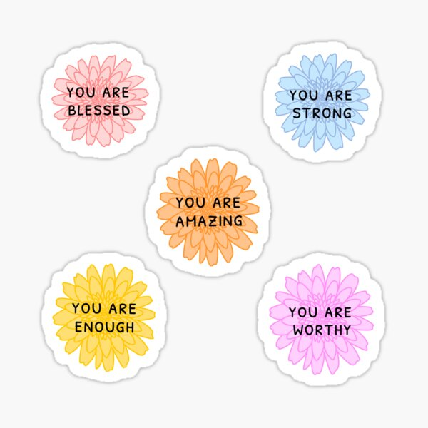 Positive Affirmation Flowers Sticker