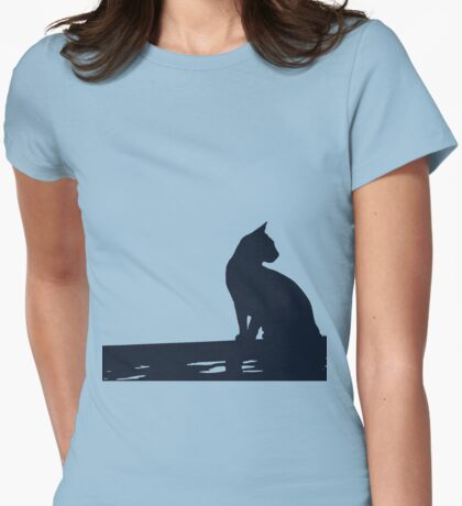 Black Cat  Sitting On the Fence T-Shirt