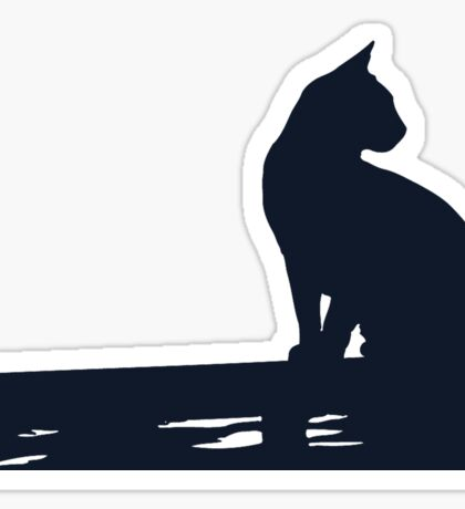 Black Cat  Sitting On the Fence Sticker