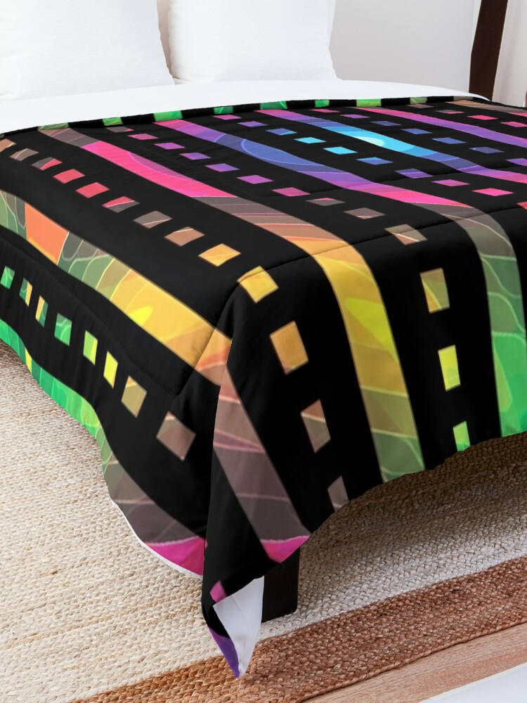 Alternate view of Psychedelic Rainbow Stripe Pattern Comforter