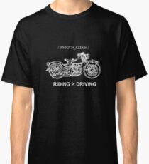 Motorcycle Cruiser Style Illustration White Ink Classic T-Shirt