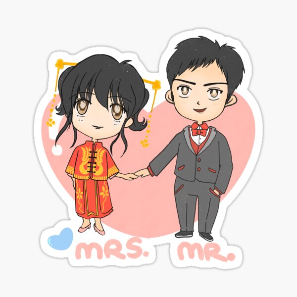 Mr and Mrs. cute Chinese wedding  Sticker