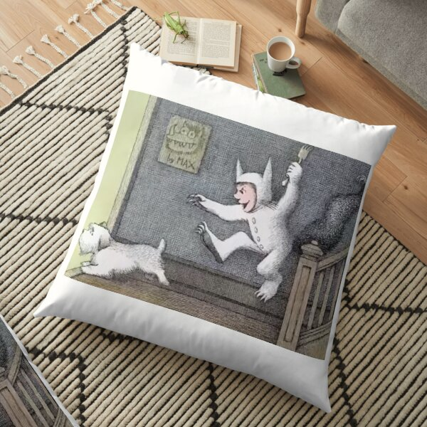 Where The Wild Things Are And Funny Dog Cartoon Floor Pillow