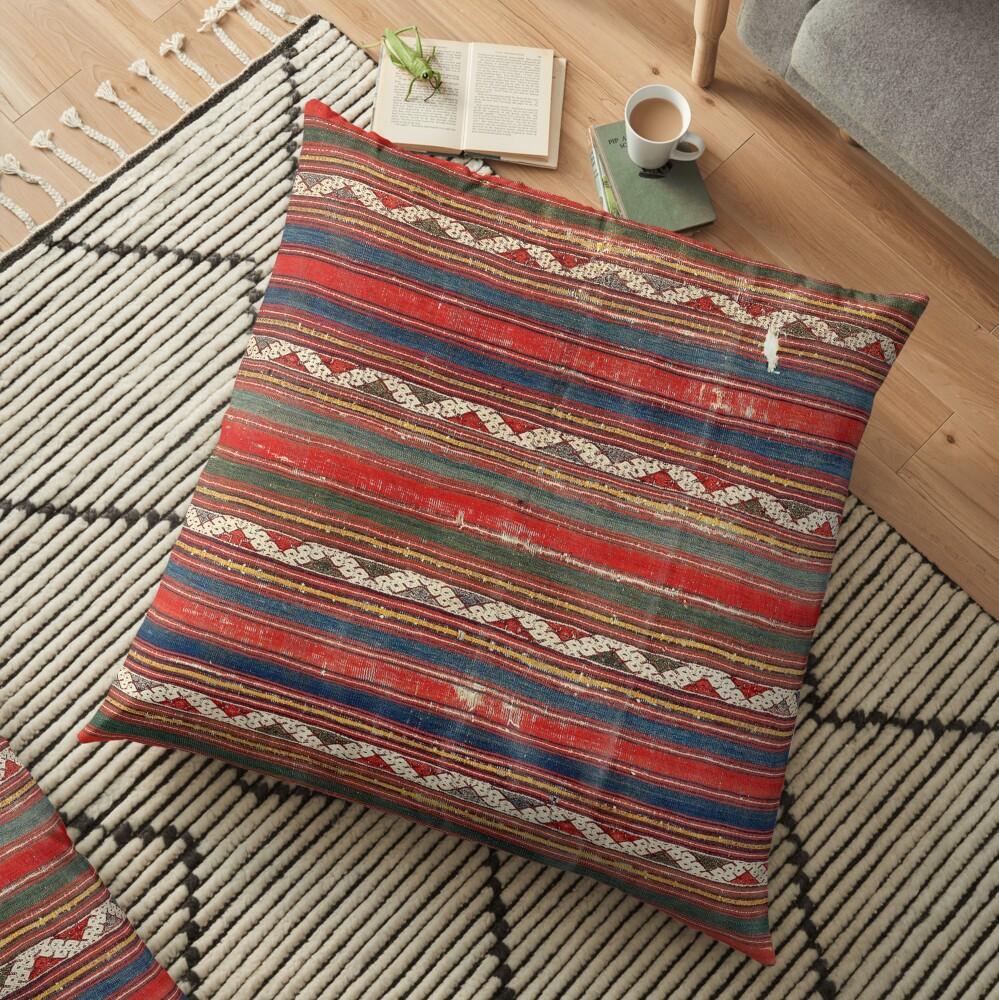 Denizli West Anatolian Kilim Print Floor Pillow