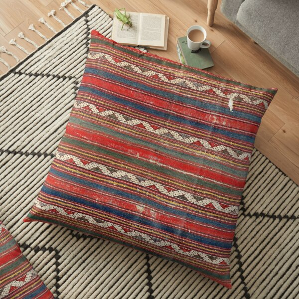 Denizli West Anatolian Kilim Print Floor Pillow