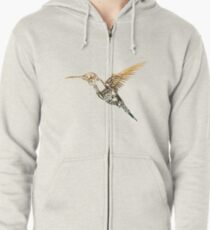 Steampunk Humming Bird Zipped Hoodie