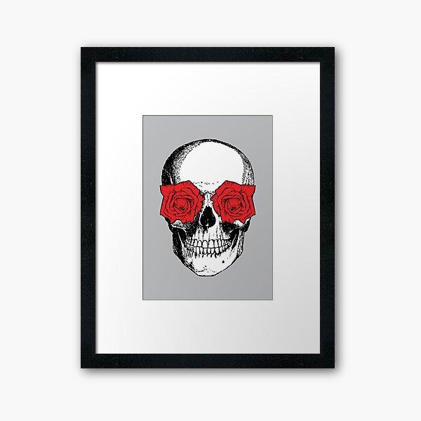 Skull and Roses | Skull and Flowers | Skulls and Skeletons | Vintage Skulls | Grey and Red |  Framed Art Print