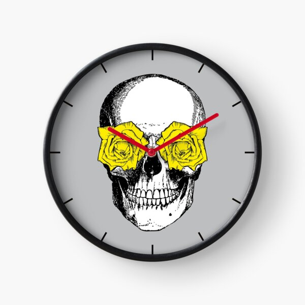 Skull and Roses | Skull and Flowers | Skulls and Skeletons | Vintage Skulls | Grey and Yellow |  Clock