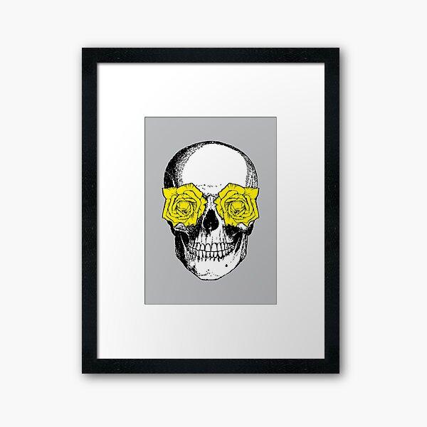 Skull and Roses   Skull and Flowers   Skulls and Skeletons   Vintage Skulls   Grey and Yellow    Framed Art Print