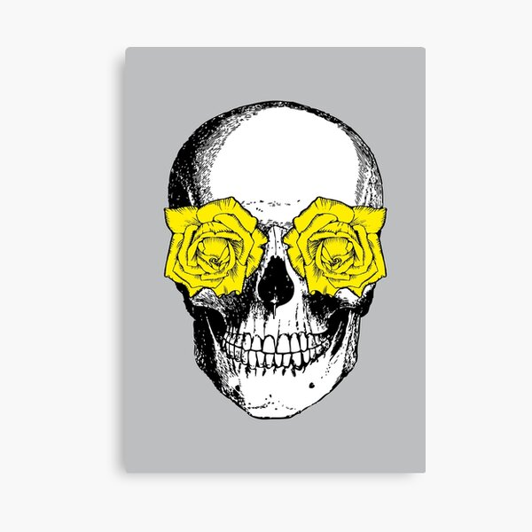 Skull and Roses | Skull and Flowers | Skulls and Skeletons | Vintage Skulls | Grey and Yellow |  Canvas Print