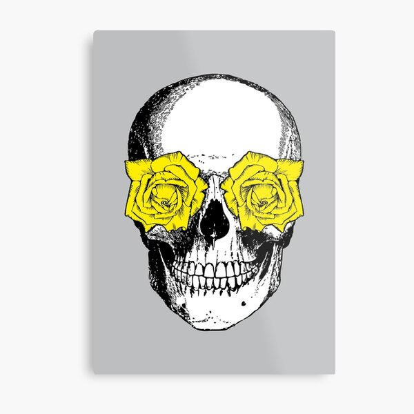 Skull and Roses   Skull and Flowers   Skulls and Skeletons   Vintage Skulls   Grey and Yellow    Metal Print