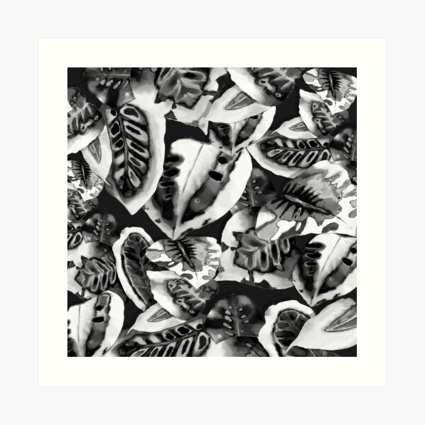 Midnight Tropical Jungle black and white Art Print