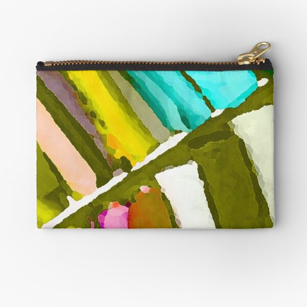 Olive Blue Yellow mix of stripes  by Iritof Zipper Pouch