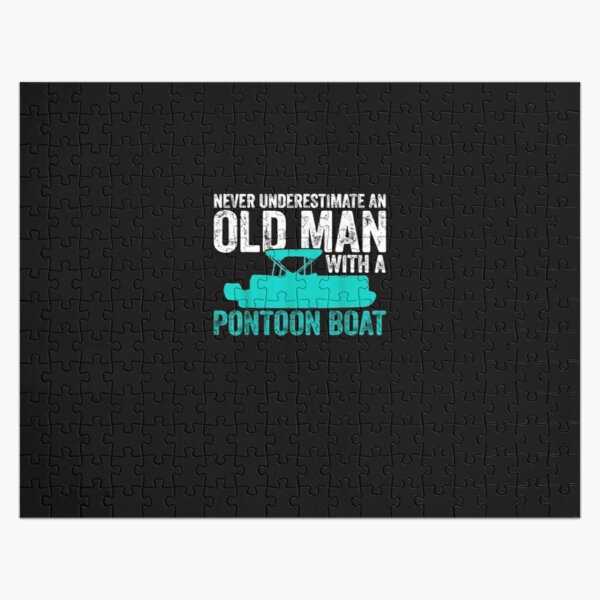 Pontoon Boat Old Man Boating T Shirt Jigsaw Puzzle