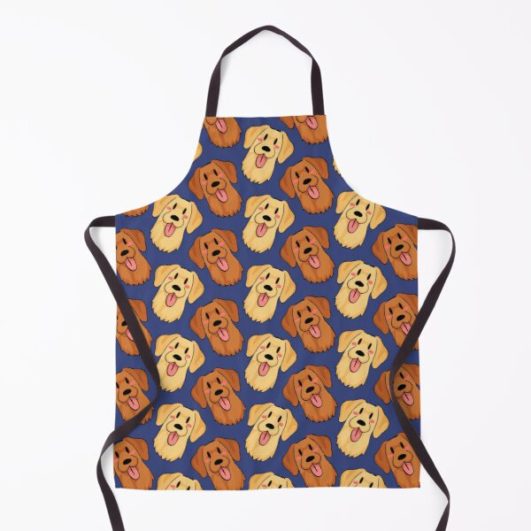 Yellow and Fox Red Labrador Pattern - Blue Apron