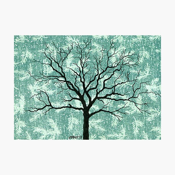 TREE ON DESIGN PAPER Photographic Print