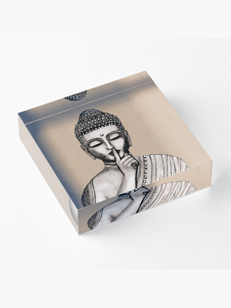 Alternate view of Shh ... do not disturb - Buddha - New Acrylic Block