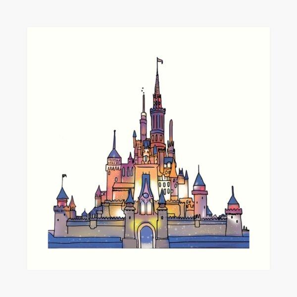 Watercolor Castle Art Print