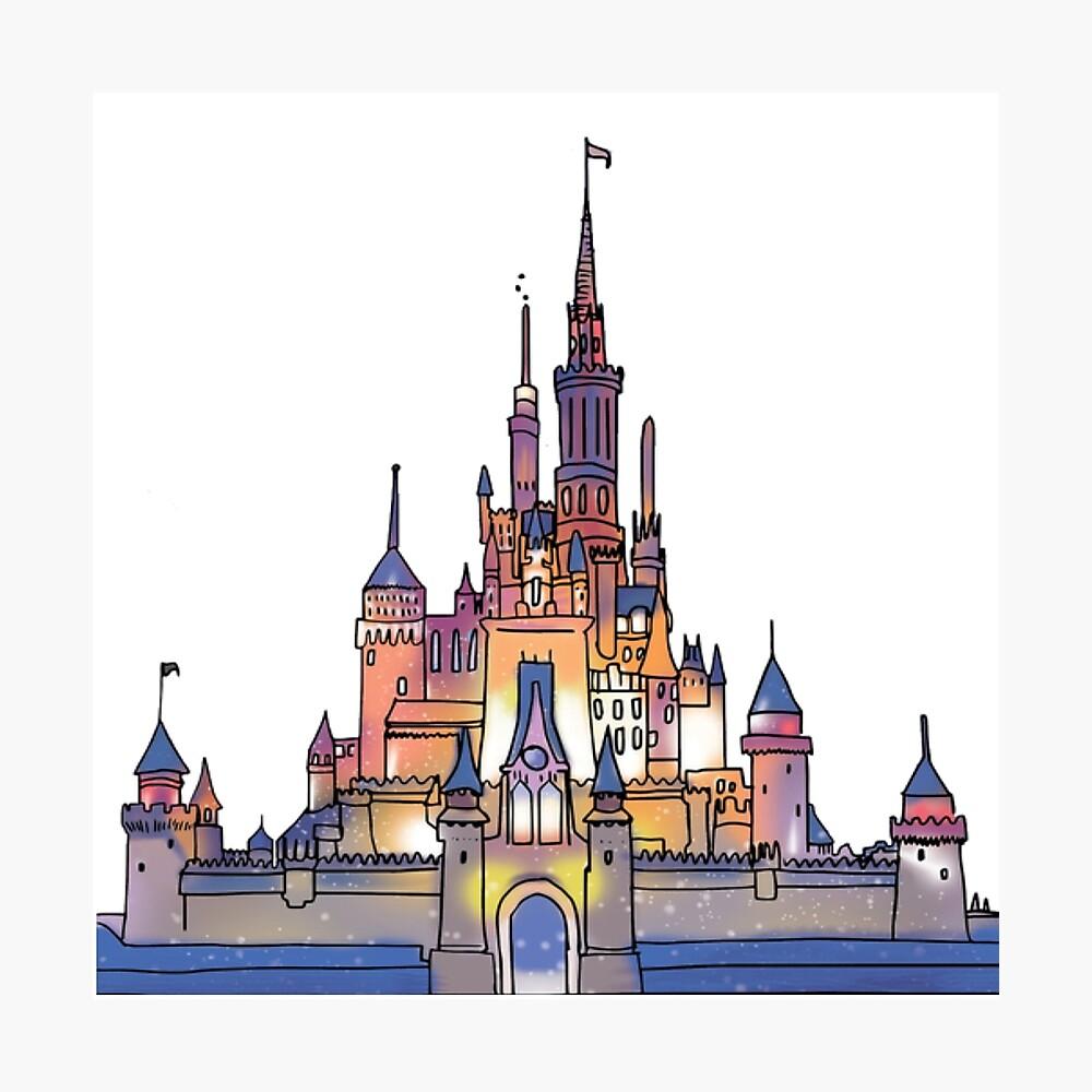 Aquarell Schloss Fotodruck