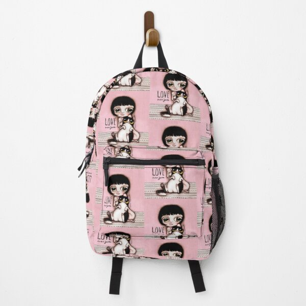 Little child with black and white cat Backpack