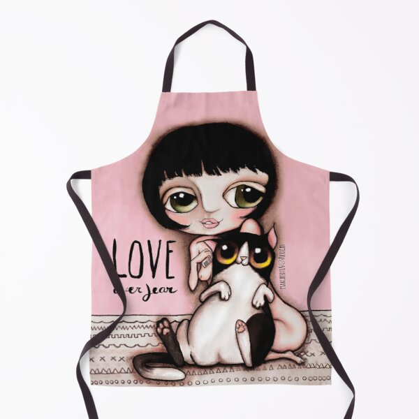 Little child with black and white cat Apron