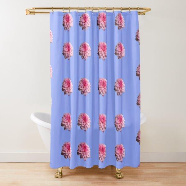 Dahlia Design Pink On Blue Shower Curtain