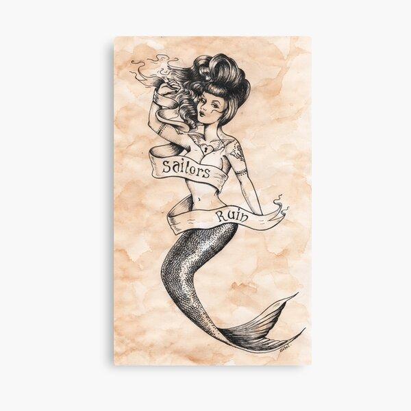 Sailors Ruin, Vintage mermaid tattoo style Canvas Print