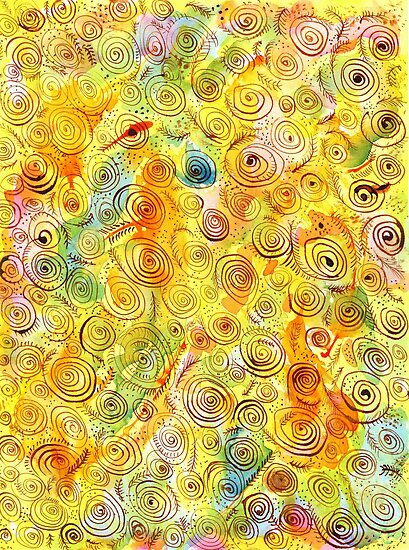 Abstract Background with Spirals on Yellow Green Pink by ivDAnu