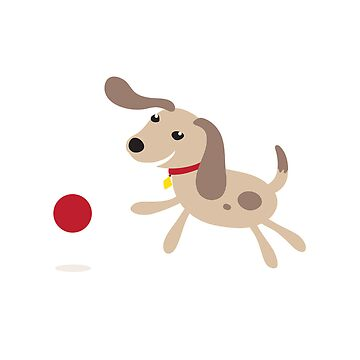 Cute little cartoon puppy dog running after red ball by MheaDesign