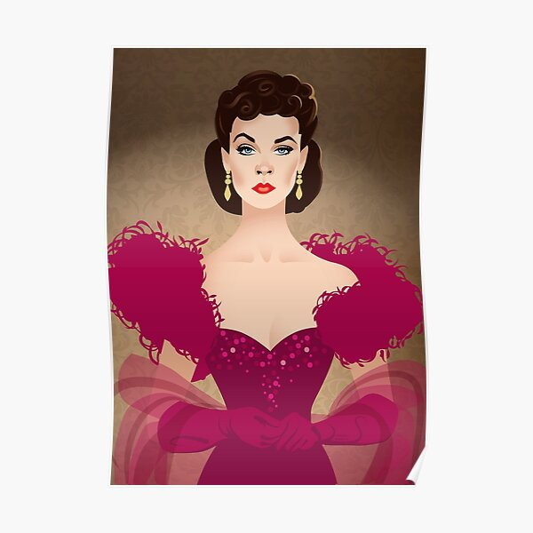 Burgundy dress Poster