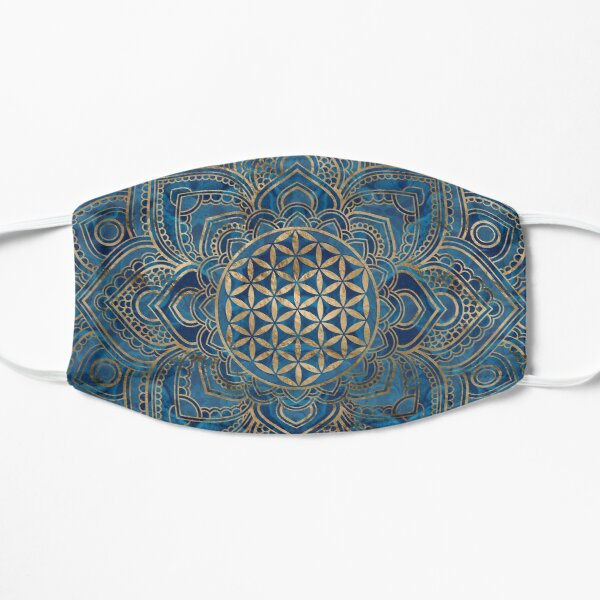 Flower of Life in Lotus Mandala - Blue Marble and Gold Flat Mask