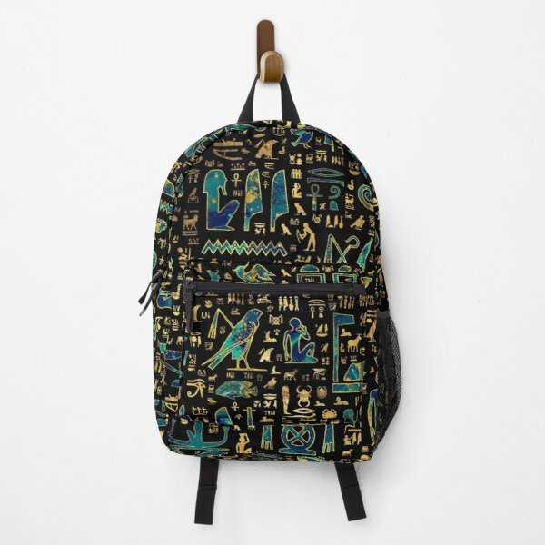 Ancient Egyptian hieroglyphics Marble and Gold Backpack