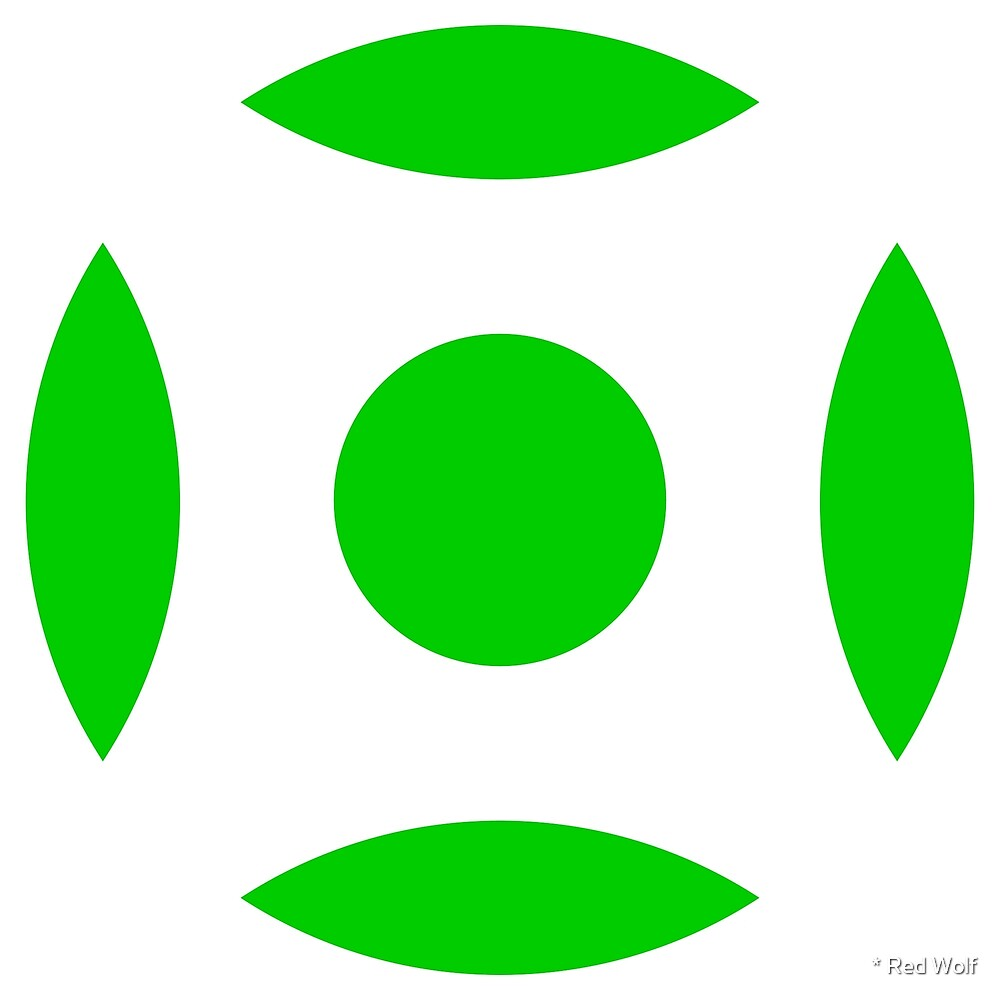 Geometric Pattern: Intersect Circle: White/Green by * Red Wolf