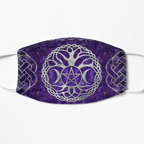 Triple Goddess with pentagram and tree of life Flat Mask