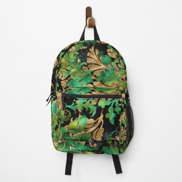 Jungle Floral Neck Gator Green Gold and Black Jungle Flowers Backpack
