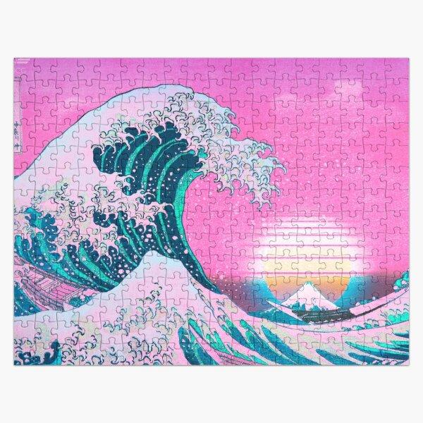 Vaporwave Aesthetic Great Wave Off Kanagawa Retro Sunset Jigsaw Puzzle