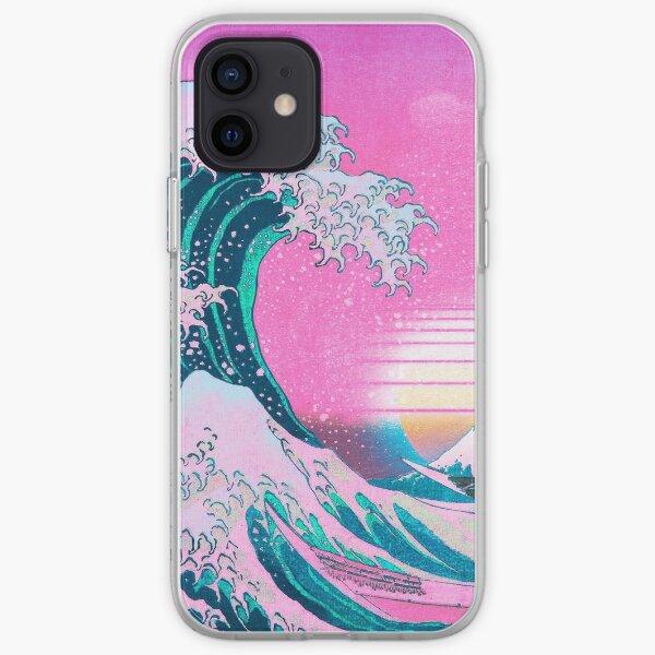 Vaporwave Aesthetic Great Wave Off Kanagawa Retro Sunset Coque souple iPhone