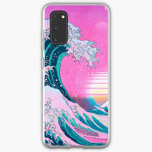 Vaporwave Aesthetic Great Wave Off Kanagawa Retro Sunset Samsung Galaxy Soft Case