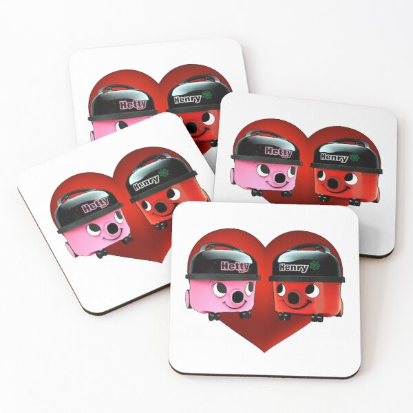 Henry and Hetty Hoover Love Heart Coasters (Set of 4)
