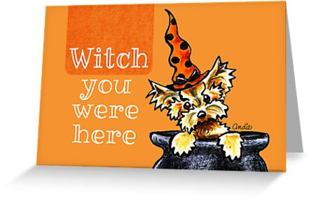 Yorkie Witch You Were Here by offleashart