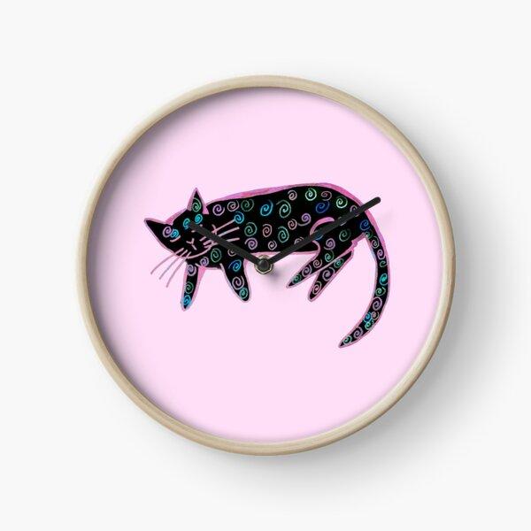 Danish pastry cat in black and bright Clock