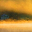 Sunrise fog and lake house by Alex Call